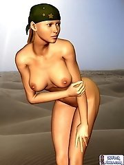 Nude army chick toon