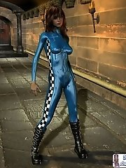 Toon girl in shiny latex