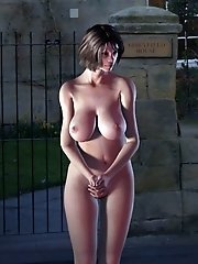 Nude toon at cemetary