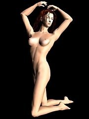 Nude 3D babe posing